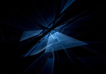 Perspective fractal blue square on a black background