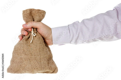 Hand with burlap sack