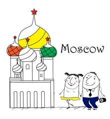 Cartoon Skizze. Moscow travel themed.