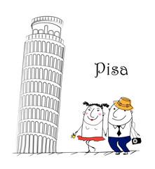 Cartoon Skizze. Italia travel themed.