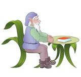 old elf sitting at table