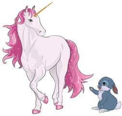 pink unicorn with bunny