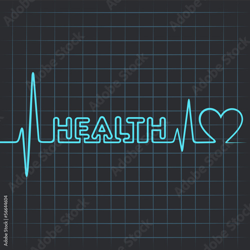 Illustration of heartbeat make health word and heart