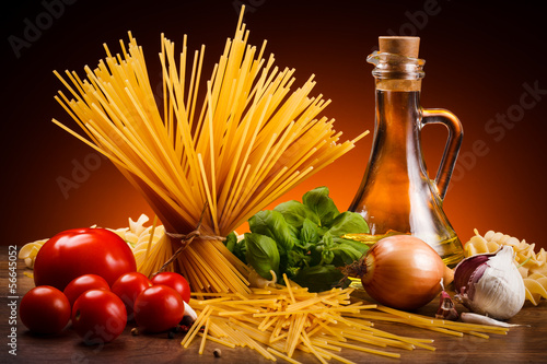 Pasta and fresh vegetables