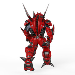 Alien robot red black back view
