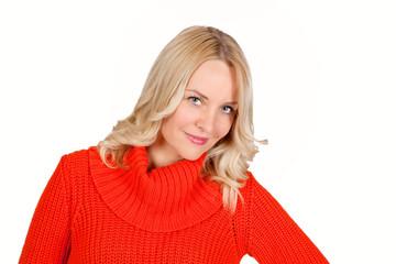 Schöne blonde junge Frau
