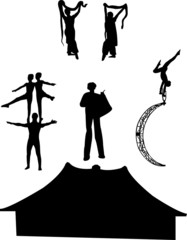 collection of circus artists silhouette - vector