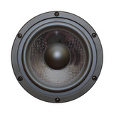 Closeup view of black bass speaker