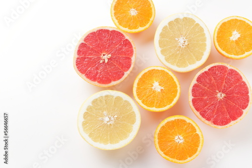 orange and a grapefruit