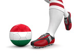Man and soccer ball  with Hungarian flag