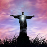jesus, in a grass, sunset sky background