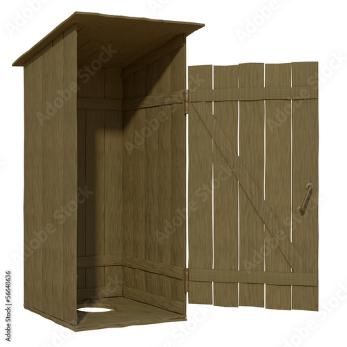 wooden toilet on a white background