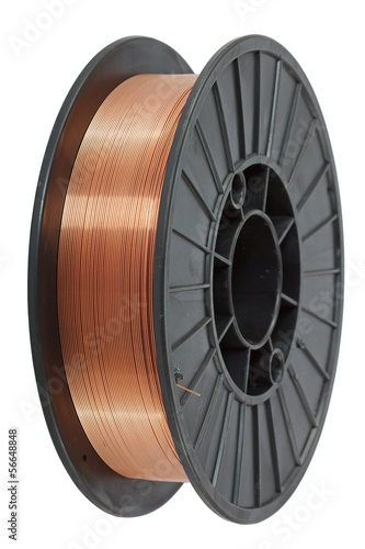Copper wire on spool, isolated on white backgrounds, with clippi