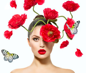 Beauty Fashion Model Woman with Red Poppy Flowers in her Hair