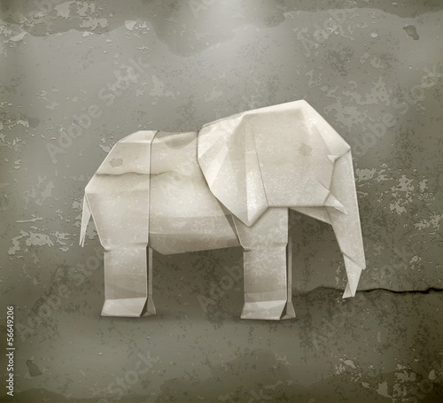 Origami elephant, old style