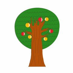 tree with apples,  vector