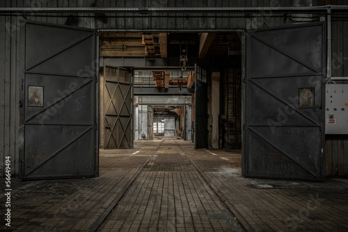Leinwanddruck Bild Large industrial door