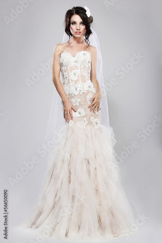 Espousal. Gorgeous Bride in Long Bridal Dress. Wedding Style