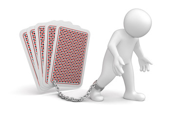 Man and Playing Cards (clipping path included)