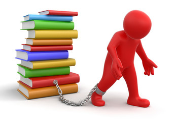 Man and Stack of Books (clipping path included)