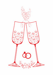 Wedding champagne glasses.Painted decorative pattern on glass
