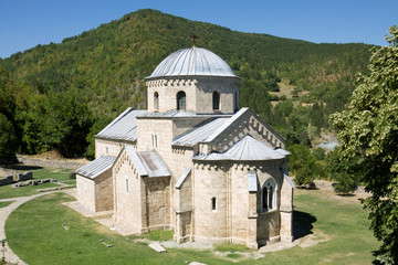 The church in the orthodox monastery Gradac in Serbia