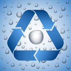Blue recycle symbol on wet background