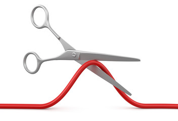 Scissors and Cable (clipping path included)
