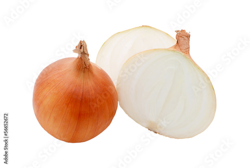 Two white onions, whole and halved