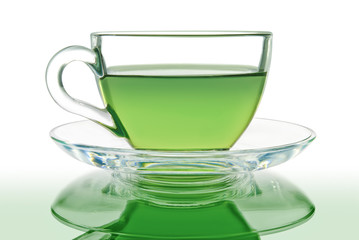 Green tea in a glass bowl on a white background.
