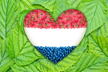 Flag of the Netherlands in the heart of the berries on leaves.