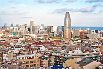 Panoramic view of Barcelona with skyscrapers