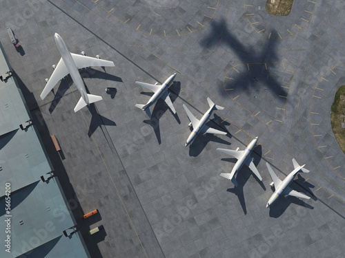 canvas print picture airport, aerial view