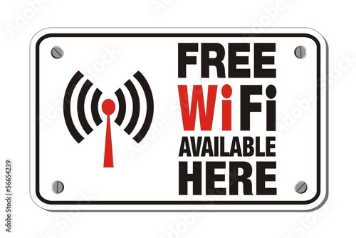 free wifi available here - rectangle sign