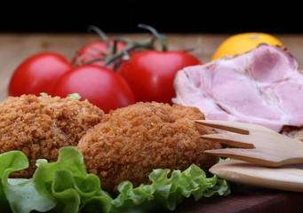 Chicken Kiev and sandwich