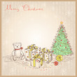 Vintage Christmas card with gifts and presents.Vector drawing  i