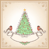 Vintage Christmas card with bullfinches.Vector illustration
