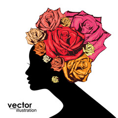 Abstract Woman face Silhouette with roses