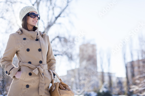 canvas print picture Young woman at winter