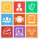 business flat icons set 2 - lunch