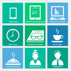 business flat icons set 1 - breakfast