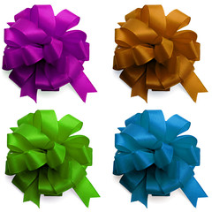 Set decor satin bows isolated