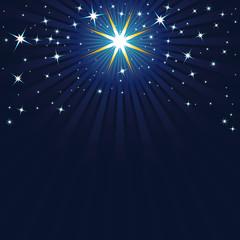 Sternenimmel, Frohe Weihnachten, Weihnachtskarte, blau