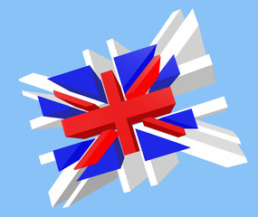 Union Jack Flag Exploded