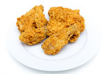 Four Pieces of Fried Chicken on White Plate