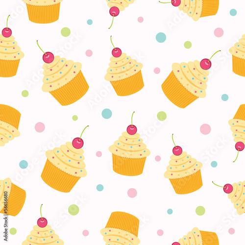 Cupcake Seamless Pattern. Vector illustration.