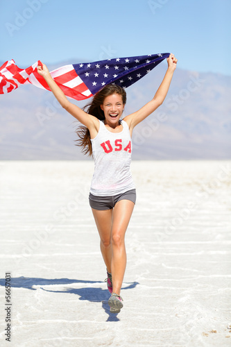 Winner athlete woman with american flag, USA
