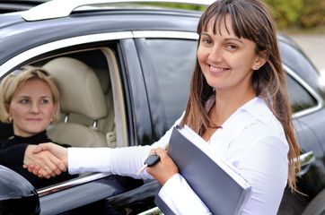 Happy attractive saleslady finalising a deal