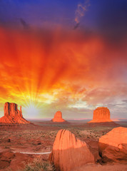 Wonderful view of famous Buttes of Monument Valley at sunset, Ut