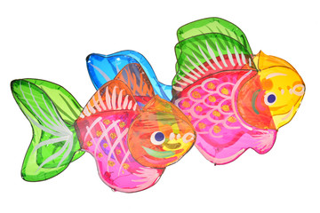 Fish Design Lanterns Isolated On White Background